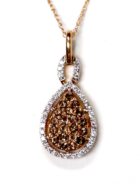0.25 CT. Raindrop Diamond Pendant with Simulated Topaz in 14K Rose Gold (Chain Included)