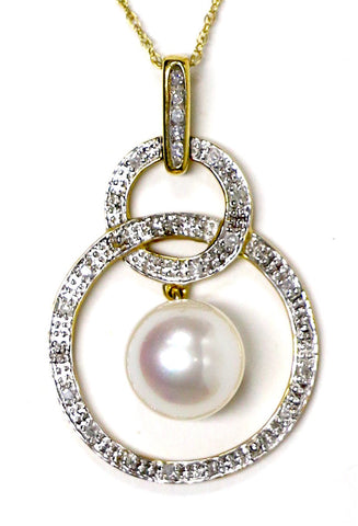 0.15 CT. Dropped Pearl Diamond Pendant in 14K Yellow Gold (Chain Included)