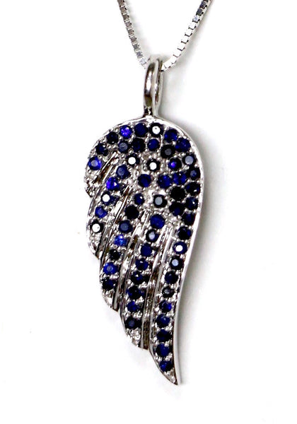 0.50 CT. Blue Sapphire Wing Pendant in 14K White Gold (Chain Included)