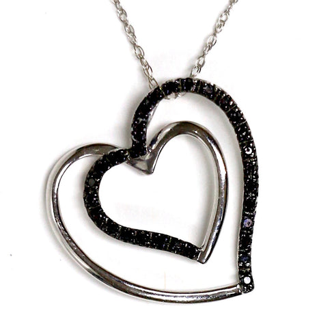 0.15 CT. Heart in a Heart Diamond Pendant in 14K White Gold (Chain Included)