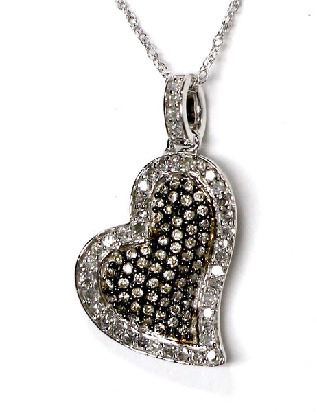 0.50 CT. Brown & White Heart Diamond Pendant in 14K White Gold (Chain Included)