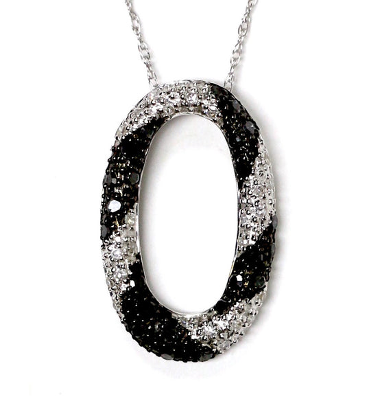 0.35 CT. Black & White Ellipse Diamond Pendant in 14K White Gold (Chain Included)
