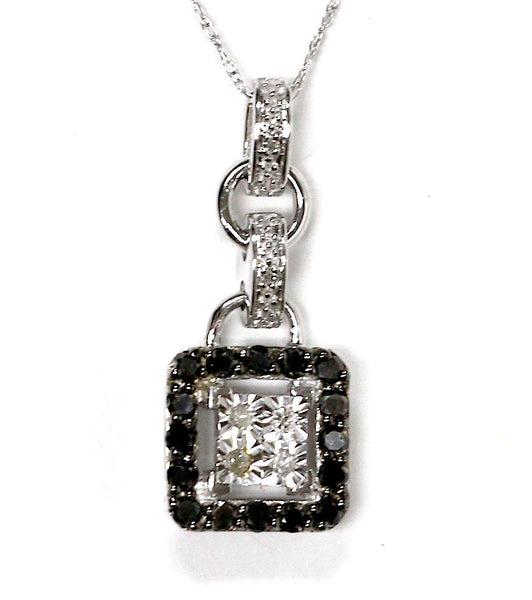 0.46 CT. Square Diamond Pendant in 14K White Gold (Chain Included)