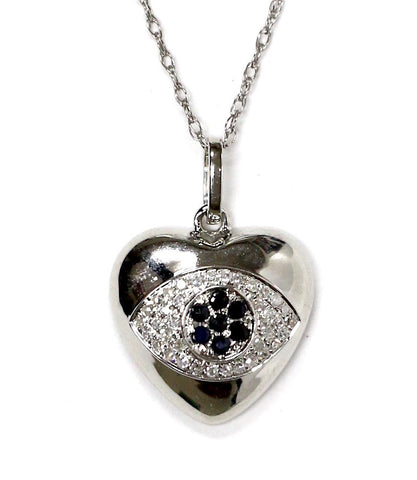 0.10 CT. Heart with Inset Diamond Pendant in 14K White Gold (Chain Included)
