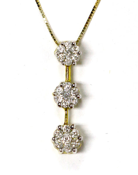 0.85 CT. Three Stone Drop Diamond Pendant in 14K Yellow Gold (Chain Included)