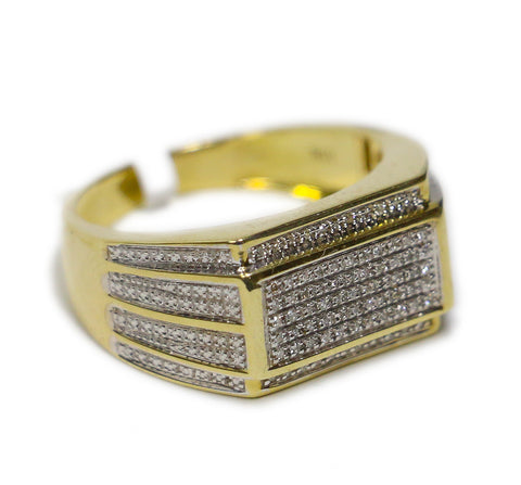 0.30 CT. Winged Rectangle Diamond Ring in 10K Yellow Gold