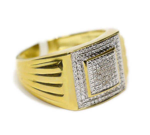 0.25 CT. Square Diamond Ring with Side Accents in 10K Yellow Gold
