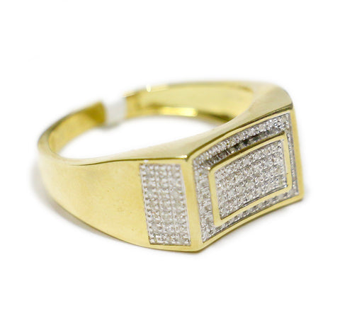 0.30 CT. Concave Rectangles Diamond Ring in 10K Yellow Gold