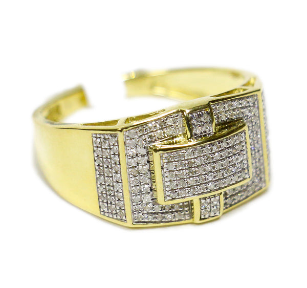 0.34 CT. Bridged Rectangle Diamond Ring in 10K Yellow Gold