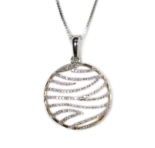 1.0 CT. Patterned Circle Diamond Pendant in 14K Rose Gold (Chain Included)