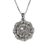 0.50 CT. Flower Blossom Diamond Pendant in 14K White Gold (Chain Included)