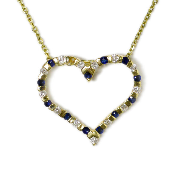 0.35 CT. Heart Diamond Pendant with Simulated Sapphire in 14K Gold (Chain Included)
