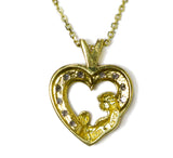 0.25 CT. Mother and Child Heart Diamond Pendant in 10K Gold (Chain Included)