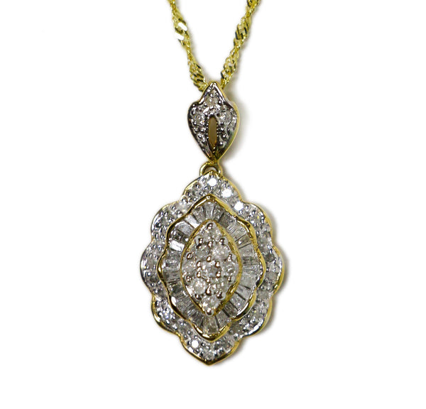 0.75 CT. Diamond Pendant in 14K Gold (Chain Included)