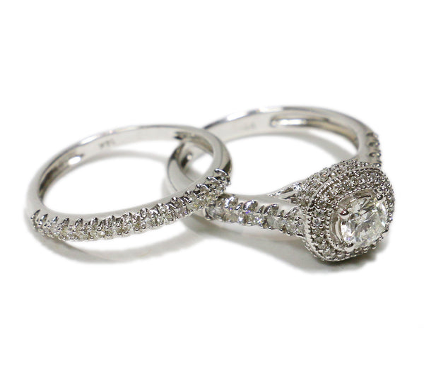 1.35 CT. Classic Diamond Engagement Two Ring Set in 14K White Gold