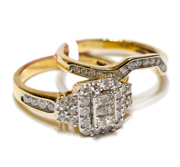 1.60 CT. 3x2 Princess Cut Diamond Engagement Two Ring Set in 14K Gold