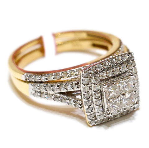 1.50 CT. Stepped Square Diamond Engagement Two Ring Set in 14K Gold