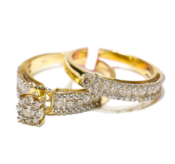 1.50 CT. Raised Circle Diamond Engagement Two Ring Set in 14K Gold