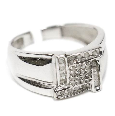 0.25 CT. Four Line Square Diamond Ring in 10K White Gold