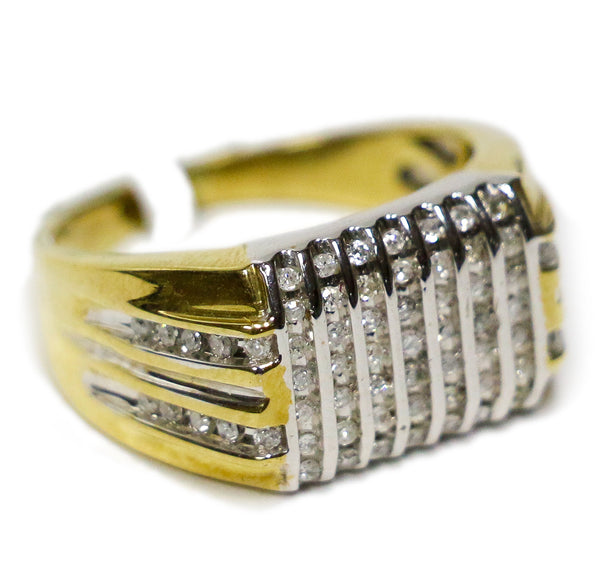 0.75 CT. Vertical Line Diamond Ring in 14K Two-Tone Gold