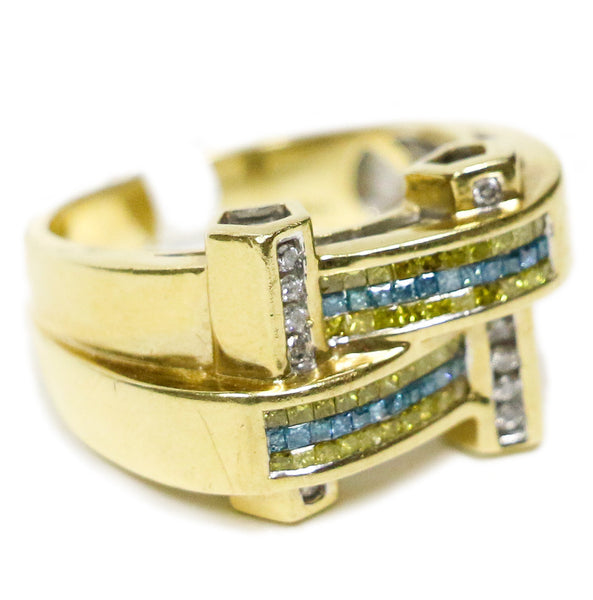 0.85 CT. Blue, White, & Yellow Diamond Ring in 14K Gold
