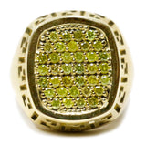 0.75 CT. Greek Patterned Canary Diamond Ring in 10K Gold