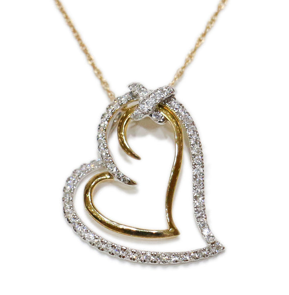 0.50 CT. Heart in a Heart Diamond Pendant in 10K Two-Tone Gold (Chain Included)