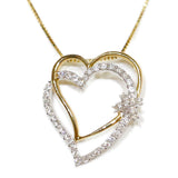 0.35 CT. Overlapping Hearts Diamond Pendant in 10K Gold (Chain Included)