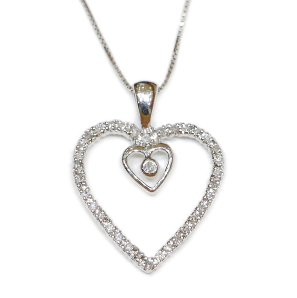 0.25 CT. Heart Diamond Pendant in 14K White Gold (Chain Included)