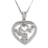 1.0 CT. 'LOVE' Heart Diamond Pendant in 14K White Gold (Chain Included)