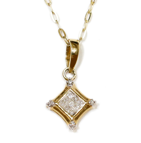 0.25 CT. Diamond Pendant in 14K Gold (Chain Included)