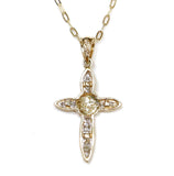 0.25 CT. Flower & Cross Diamond Pendant in 14K Gold (Chain Included)