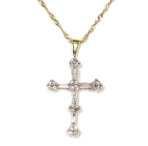 0.50 CT. Baguette Diamond Cross Pendant in 14K Gold (Chain Included)