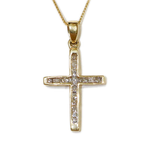 0.25 CT. Channel Set Cross Diamond Pendant in 14K Gold (Chain Included)