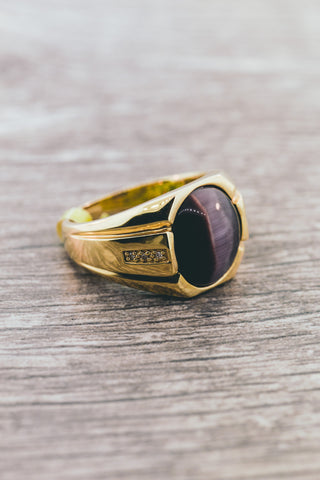 6.30 CT. Diamond and Tiger eye  in 14KT Gold