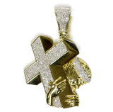 1.20 CT. Jesus Carrying Cross Diamond Pendant in 10K Gold