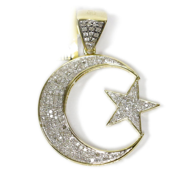 0.76 CT. Crescent and Star Diamond Pendant in 10K Gold
