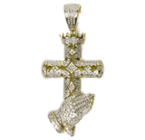 0.68 CT. Cross and Praying Hands Diamond Pendant in 10K Gold