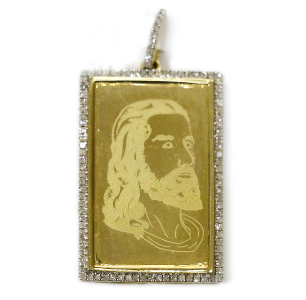 0.30 CT. Jesus Etching Diamond Pendant in 10K Gold