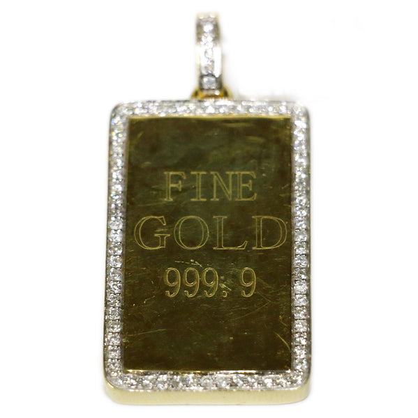 1.04 CT. Pure .999 Gold Bar Diamond Pendant set in 14K Gold