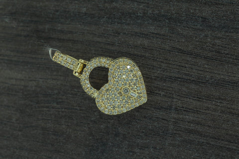 1.35 CT. Heart With Lock Diamond Pendant in 14K Yellow Gold