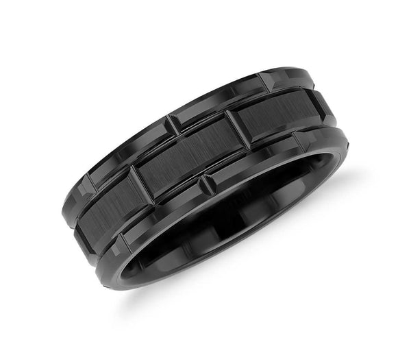 Link Tungsten Carbide Ring with Brush Finish - Black