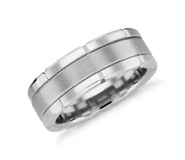 Link Tungsten Carbide Ring with Brush Finish - White
