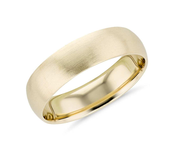 14K Gold Classic Brush Finished Wedding Band - 7mm (Yellow or White Gold)
