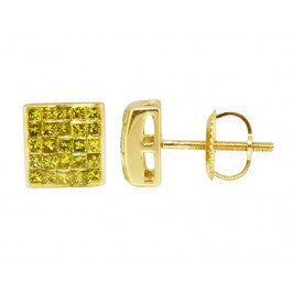 0.66 CT. Princess Cut Genuine Canary Diamond Studs in 10K Yellow Gold