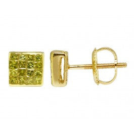 0.50 CT. Princess Cut Genuine Canary Diamond Studs in 10K Yellow Gold