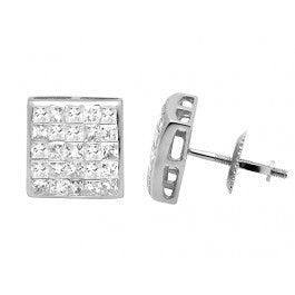 1.00 CT. Princess Cut Diamond Studs in 14K White Gold