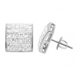 2.00 CT. Princess Cut Diamond Studs in 14K White Gold