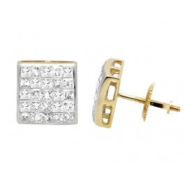 1.00 CT. Princess Cut Diamond Studs in 14K Yellow Gold