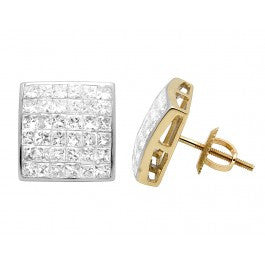 2.00 CT. Princess Cut Diamond Studs in 14K Yellow Gold